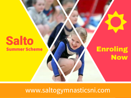 Salto Summer Scheme promotion image. Smiling young gymnast.